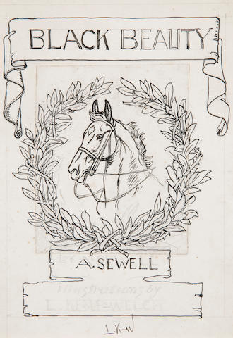 Lucy Kemp Welch (British, 1869-1958) 'Black Beauty': a design for the title page