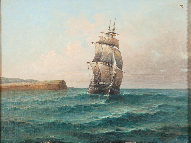 Ioannis Poulakas (Greek, 1864-1942) Sailing ship 26 x 33.5 cm.