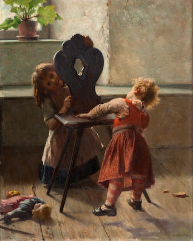 Georgios Jakobides (Greek, 1852-1932) Peek a boo 78.5 x 62 cm.