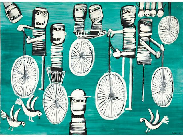 Yannis Gaïtis (Greek, 1923-1984) Les cyclistes 96.5 x 129.5 cm.