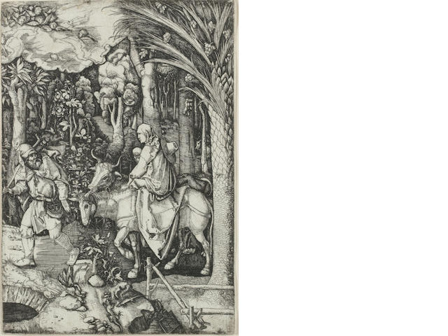 Hieronymus Hopfer (German, 1500-1563) Flight into Egypt Etching, 1520, after Durer, on laid, 225 x 157mm (8 7/8 x 6 1/4in)(PL)