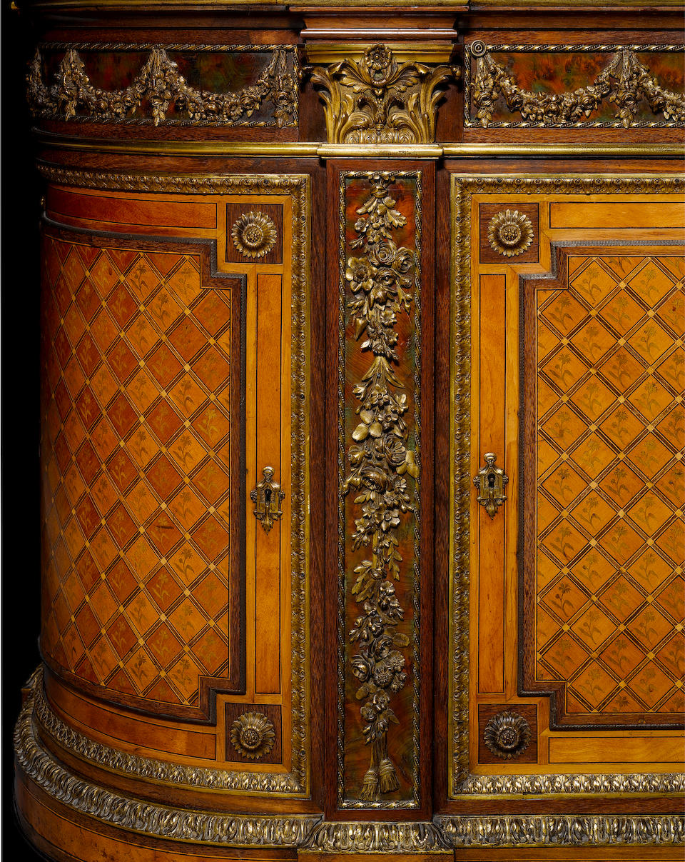 A French late 19th century Louis XVI style ormolu mounted amaranth, thuya and sycamore marquetry commode attributed to Henry Dasson, Paris