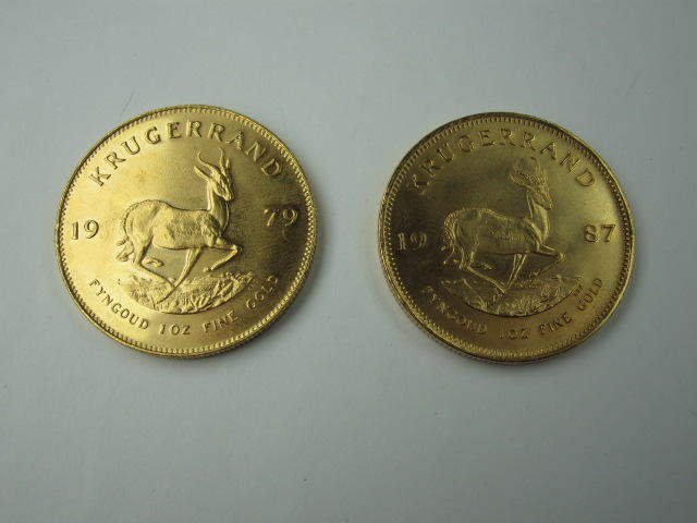 South Africa: Two krugerrands, 1979 and 1987.