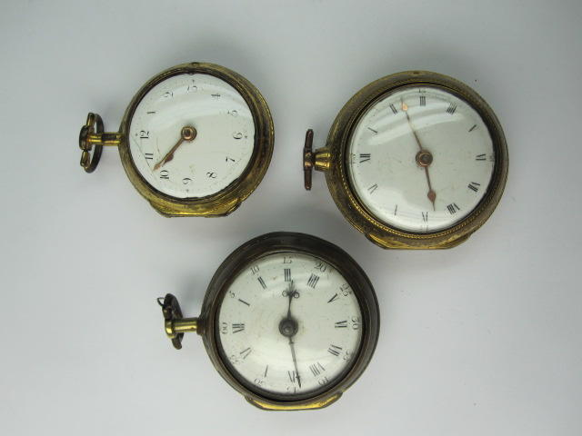 Three gilt metal pair cased pocket watches(3)