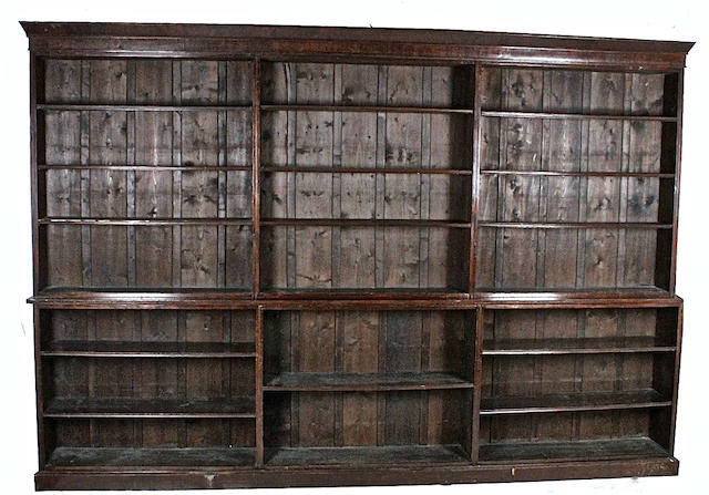A late Victorian mahogany large open bookcase