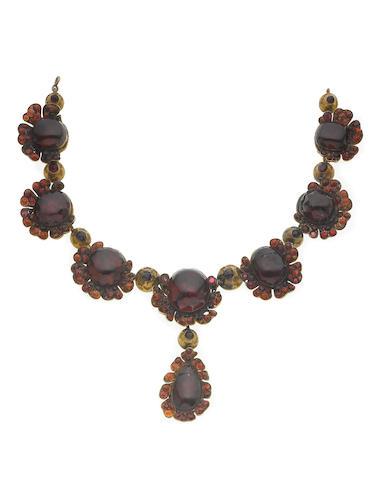 A garnet and silver gilt necklace,