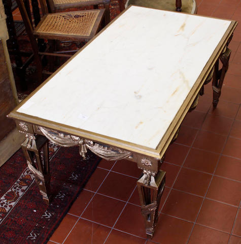 A 20th Century gilt gesso and marble low table,