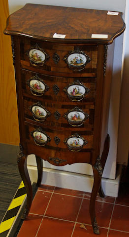 An early 20th Century walnut cross-banded and gilt metal and porcelain mounted chest,