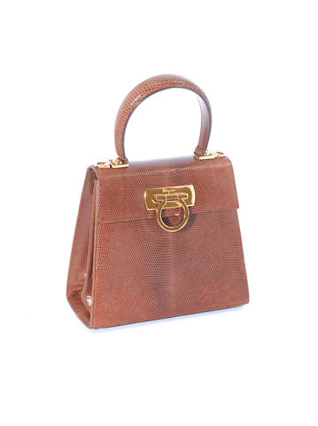 A Salvatore Ferragamo pale brown lizard mini Classic Top Handle bag