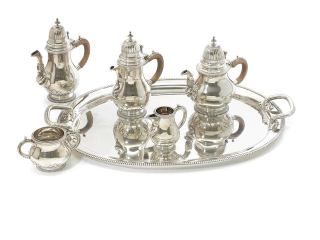 5 piece silver tea service and tray