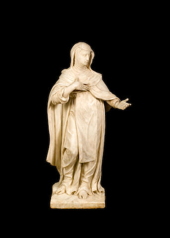 Follower of Giuseppe Mazzuoli, Italian (1643-1725) A white marble figure of St Catherine of Siena