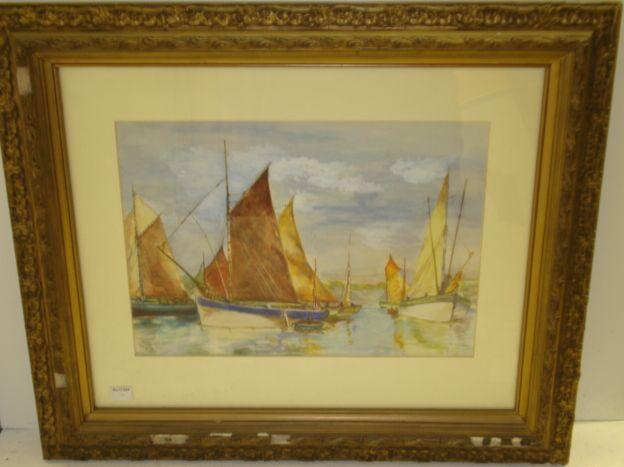 K S Duplessis - Sailing craft off a coastline, signed and dated 1899, watercolour, 24 x 34cm.