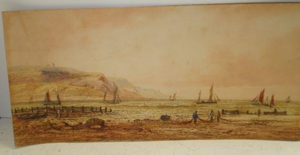 E Lewis, 19th Century - Coastal scene with sailing vessels and fisherman gathering their nets on the beach, signed, watercolour, 25 x 54.5cm, unframed.