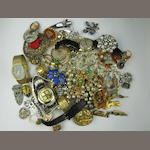 Assorted wristwatches and costume jewellery,