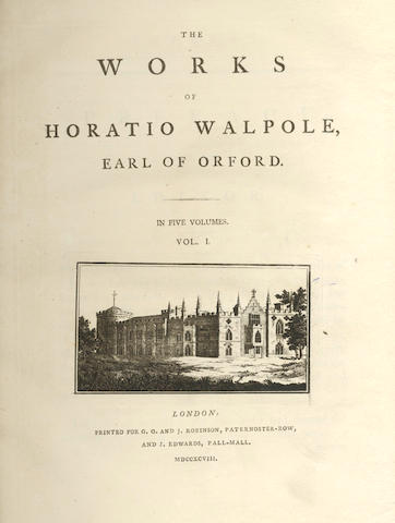 WALPOLE (HORACE, 4th Earl of Orford) The Works, 5 vol.