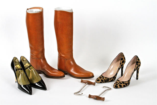 A group of designer shoes and boots,