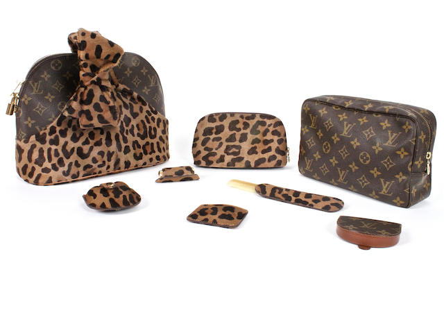 A Louis Vuitton handbag and accessories