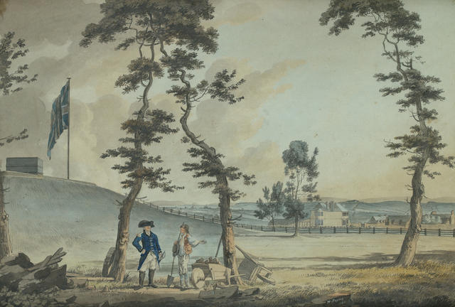 William Payne (British, 1760-1830) View of Col. Dixon's House at Stocke near Mt. Pleasant, taken from the lane leading to the Entrance of the Redout
