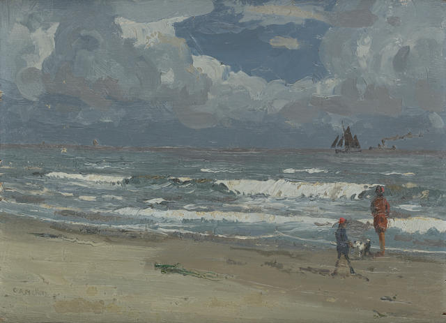 Campbell Archibald Mellon (British, 1876-1955) A breezy day by the sea