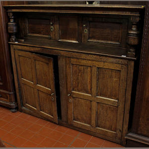 A 17th Century and later oak court cupboard,