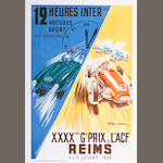 A 1953 Reims Grand Prix de L'ACF and 12-Hour Race poster, with artwork after Geo Ham,