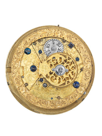 George Graham. A full plate gilt brass repeating watch movementNumber 599, circa 1729