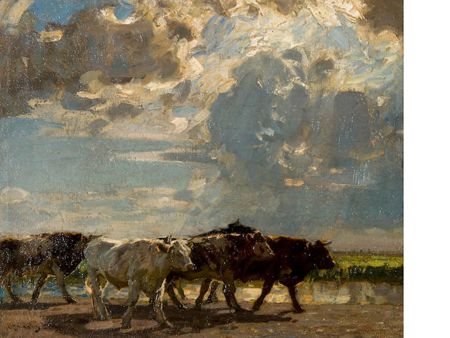 Sir John Alfred Arnesby Brown (British, 1866-1955) Cattle on a track