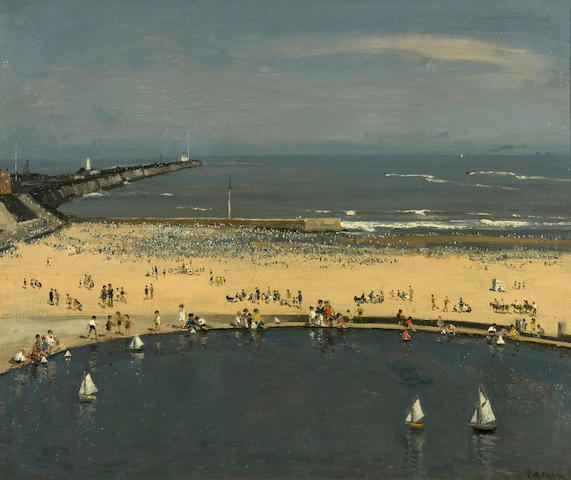 Campbell Archibald Mellon (British, 1876-1955) Crowded beach, Gorleston, with boating pond to the foreground