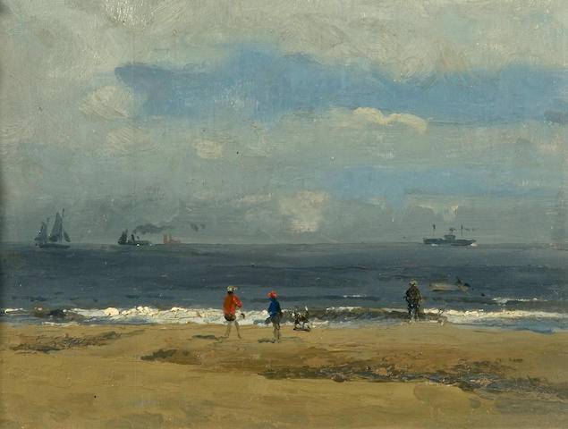 Campbell Archibald Mellon (British, 1876-1955) Figures on a beach with distant shipping