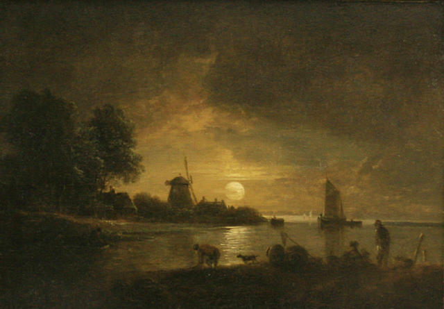 John Berney Crome (British, 1794-1842) Moonlit river scene