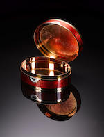 GERALD BENNEY: A unique and fine 18 carat gold, boulder opal and enamelled oval box, London 1972, also with master enamellers mark for Robert Vidal Winter,