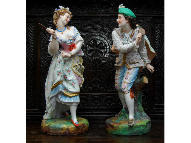 A pair of early 19th century bisque figures