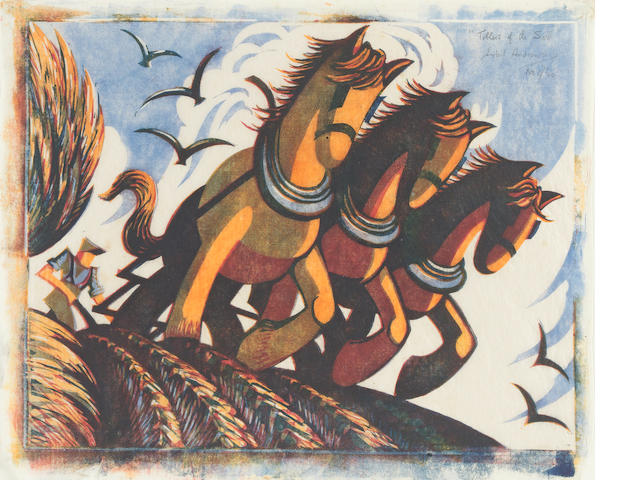 Sybil Andrews, CPE (British/Canadian, 1898-1993) Tillers of the Soil Linocut, 1934, printed from four blocks in Chinese orange, alizarin crimson, permanent blue and Chinese blue, on buff oriental laid tissue, signed, titled and numbered 1/60 in pencil; 266 x 344mm (10 1/2 x 13 1/2in)(B)