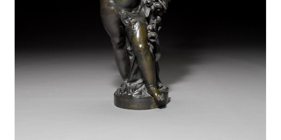 A large French patinated bronze figural torchere circa 1884 by Lacarriere Frères Delatour & Cie, Paris