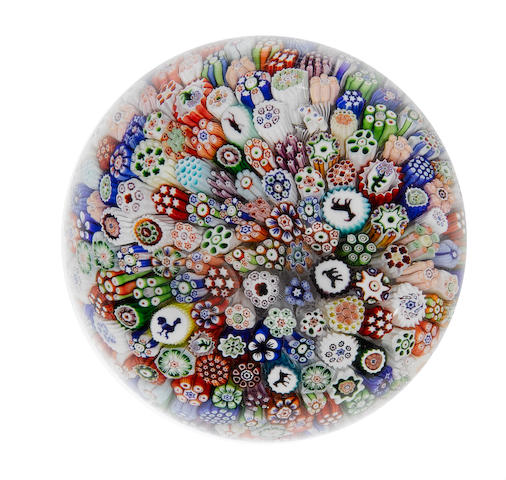 A Baccarat close-packed millefiori paperweight