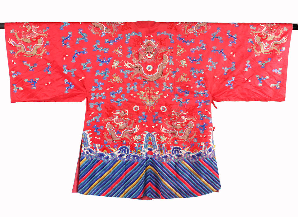 A Chinese 19th century red silk dragon robe