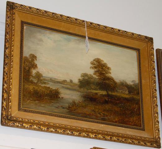 William H. Vernon (British, 1820-1909) River landscape with cattle watering