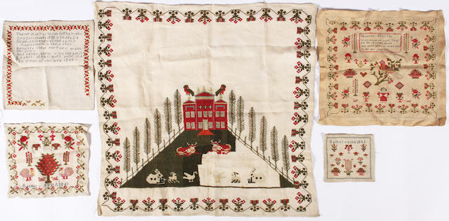 A group of five 19th century samplers