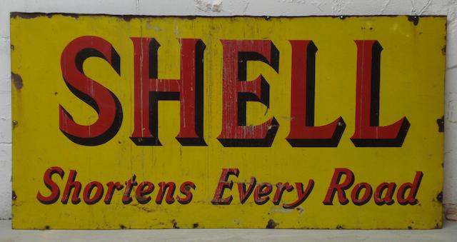 A large 'Shell Shortens Every Road' enamel sign, 1924,