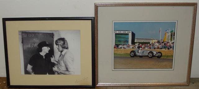 Two framed motorsport photographs,