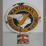 A 'National Benzole Mixture' double-sided circular enamel sign,