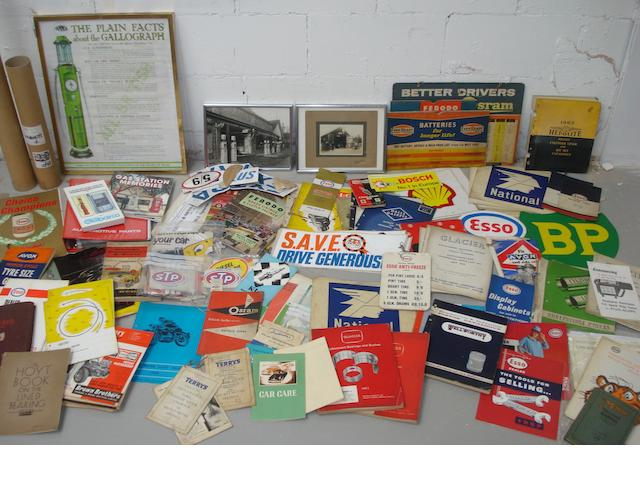 A lot of ephemera relating to garage equipment and accessories,