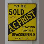 A 'To Be Sold - A C Frost' estate agent's double-sided enamel sign,