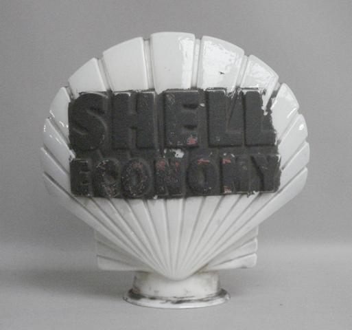A Shell Economy shell-shaped glass petrol pump globe,