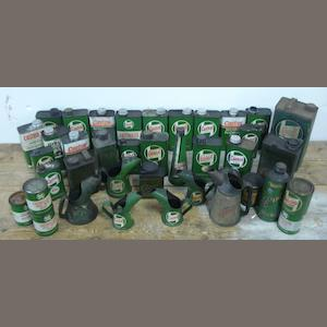 A quantity of Castrol oil cans, tins and pourers,