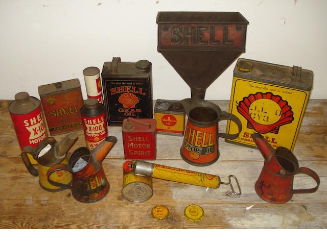 Assorted Shell oil cans, tins and pourers,