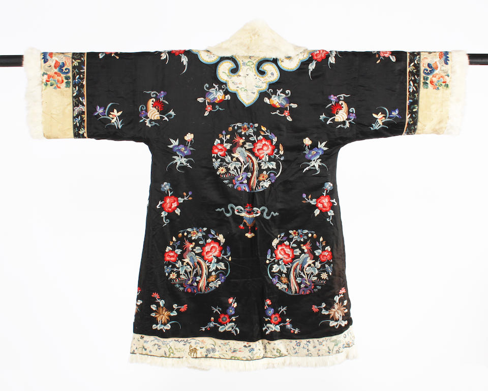 A Chinese 19th century fur lined embroidered coat
