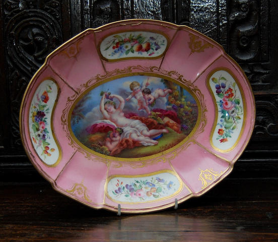 A Sevres-style oval dish