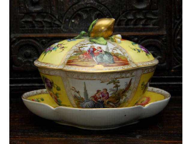 A Dresden ecuelle with cover and saucer