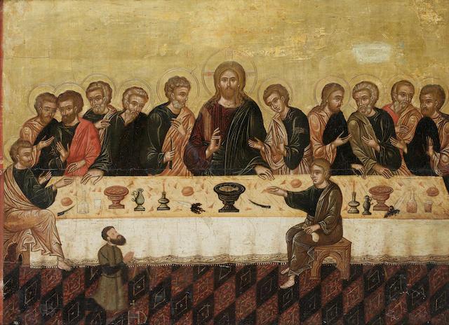 Veneto-Cretan School, 16th Century The Last Supper with a male donor